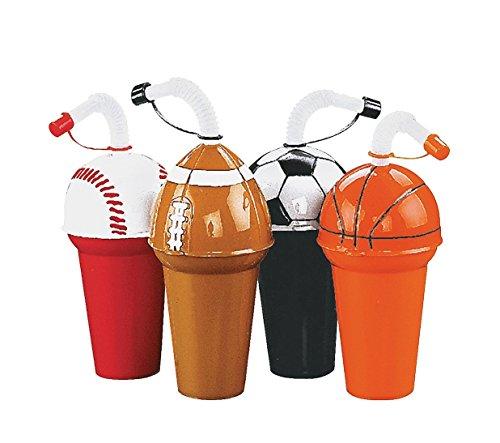 Sport Cup Assortment - Soccer, Football, Basketball, Baseball (3 of Each; 12 Total) 6 - 6 1/2 . 7 Oz