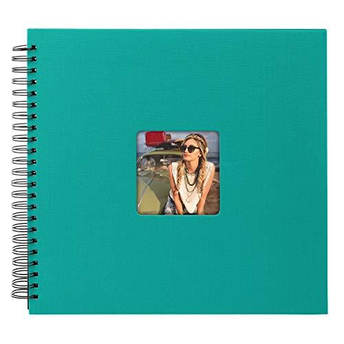 Goldbuch 25 199 - Spiralalbum Living Emerald Turquoise, Erinnerungsalbum mit Bildausschnitt, Fotoalbum mit 50 schwarzen Seiten, Foto Album zum Einkleben, Fotobuch mit Einband in Leinenoptik