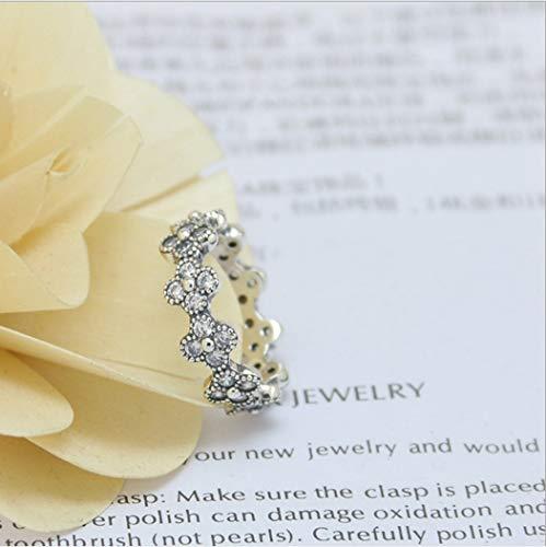 YOYOYAYA Ring 925 Sterling Silber Weiblich Ornamente Blumen Synthetische Diamanten Klassiker Exquisite Dating Einfachheit Mädchen Geburtstag Gedenken Geschenk Hochzeit Romance Fantasy, 10.