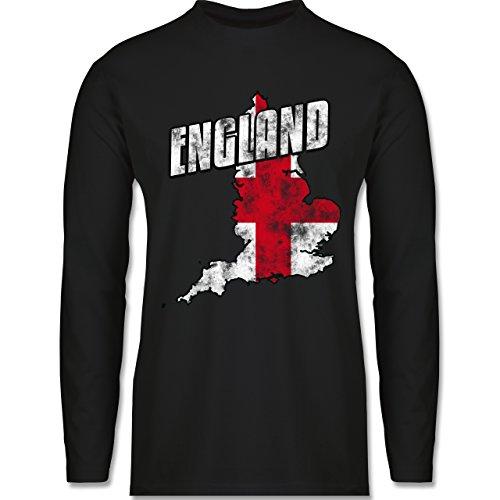 EM 2016 - Frankreich - England Umriss Vintage - Longsleeve / langärmeliges T-Shirt für Herren Schwarz
