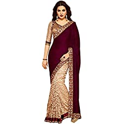 Sarees for Women Latest Design Sarees New Collection 2018 Sarees below 1000 Rupees 500 Rupees Sarees for Women Partywear Latest Design Wedding Collection Sarees for Women below 500 Latest sarees for Women Party wear Offer Designer Sarees Saree Combo Sarees New Collection Today Low Price (NK-firoji blue 29 KK) (Maroon)