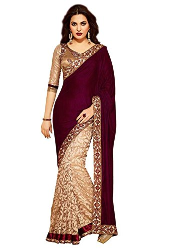 Esomic Women\'s Velvet & Net Saree (Red Velvet)