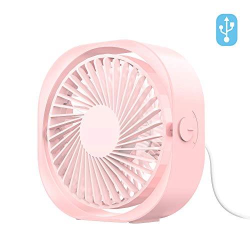 Everwell Mini USB Ventilator, Klein Lüfter Leise Tischventilator Tragbar Handventilator - 360 ° Einstellbar, 3 Geschwindigkeiten Ventilatoren, USB Fan für Büro, Zuhause, im Freien und Reise (Kleine Fan-pink)