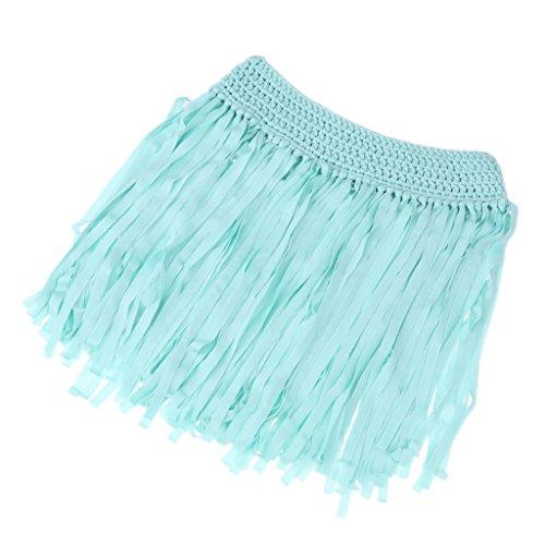 Kinder Cover Up Badeanzug (MagiDeal Frauen Mädchen Häkeln Quaste Kurzen Rock Bademode Badeanzug Bikini Cover UP Beachwear Sommer - Blau, one size)