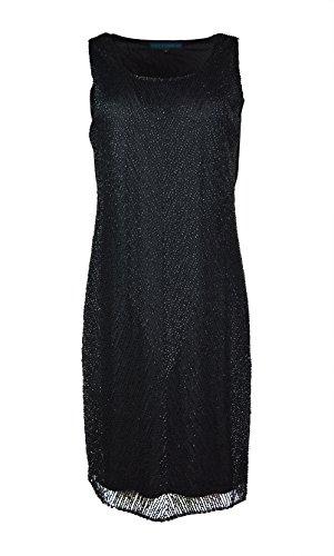 Mesdames robe noire sans manches de parti avec des paillettes Noir