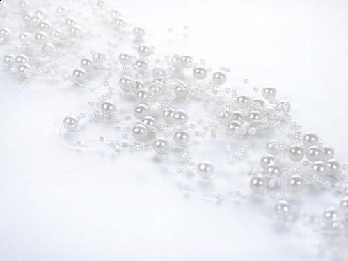 SiDeSo® Perlengirlande 5 Stück á 1,3m Tischdeko Hochzeit (weiß)