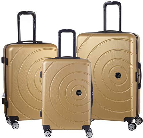 Travel World - Sets de 3 valises 55/65/75cm Rigides ABS à 8 Roues 360° - BNC (Champagne)