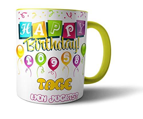 Geschenkedirekt Geburtstagstasse Kaffeebecher mit Alter in Tagen - Geburtstags-Geschenk Kaffeetasse Teetasse, Alter - Farbe:30 - Hellgelb