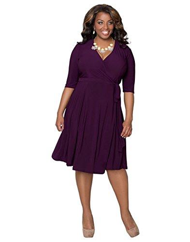 DaBag- Damen V-ausschnitt Midi Kleider Temperament Plus Size Sommerkleider Fünfte HülseFreizeit kleider Elegantes Abendkleid Knielang (2XL, Lila) (Lila Plus Size Kleid)