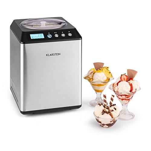 Klarstein Vanilly Sky Family - Eismaschine, Eiscreme-Bereiter, Speiseeismaschine, Frozen Yoghurt, 250 Watt, 2,5 L Volumen, Kühlhaltefunktion, Display, Timer, Restarbeitszeitanzeige, silber