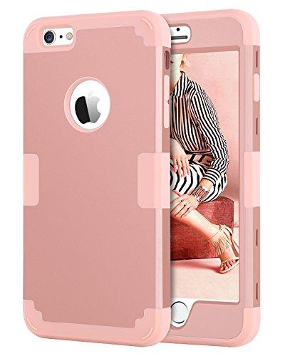 BENTOBEN Funda iPhone 6 Plus, Funda iPhone 6s Plus Original, 3 en 1 Dura PC Híbrido y TPU Silicona Suave Fuerte Extrema protección Resistente PC Bumper Fundas para iPhone 6/6s Plus (5.5''), Oro Rosa