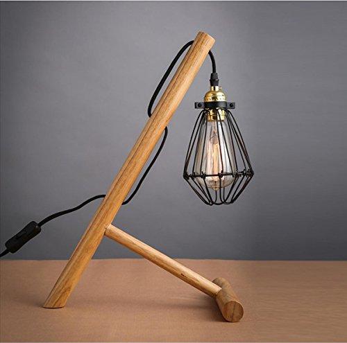SHDT Moderne Einfache Massivholz Tischlampe E27 Edison Glühbirne Mit kleinen Käfigen aus Eisen Lampenschirm Home Bar Schlafzimmer Dekor