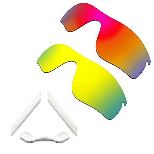 HKUCO Red/24K Gold Polarized Replacement Lenses and White Earsocks Rubber Kit For Oakley Radarlock Path Sunglasses