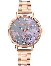 Reloj de pulsera de cuarzo para mujer con cinta de acero casual, estampado de rayas