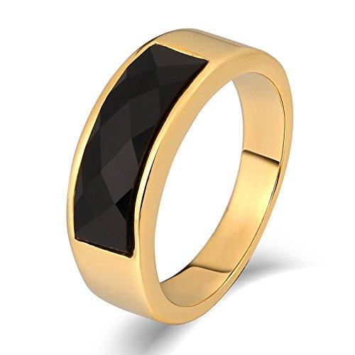 AieniD Gioielli Anelli Acciaio Inox Anello Uomo Intrecciato Round Quadrato Oro Anelli Dimensione:1.8X0.5CM Size:17