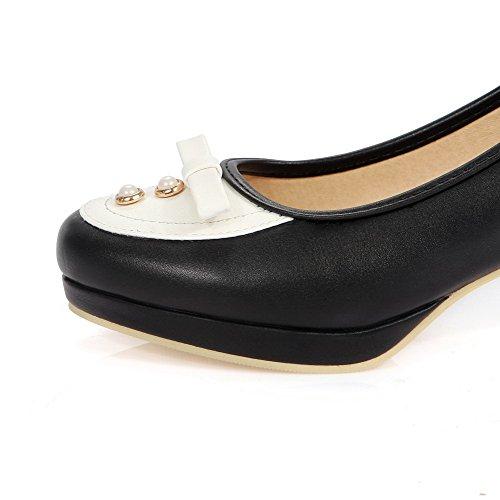 VogueZone009 Femme Tire Rond à Talon Correct Pu Cuir Couleurs Mélangées Chaussures Légeres Noir