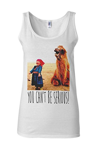 You Can`t Be Serious Camel and Kid Novelty White Femme Women Tricot de Corps Tank Top Vest **Blanc