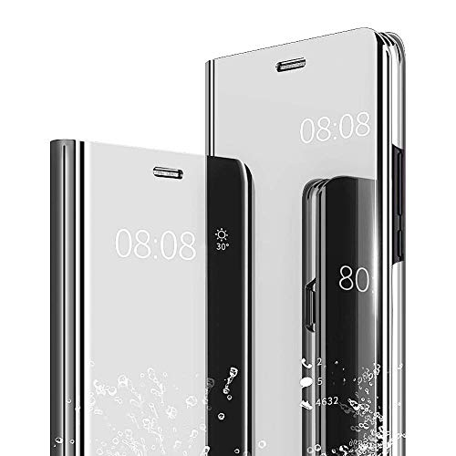 Aisoar samsung galaxy s6 edge plus clear view specchio standing cover mirror flip custodia bookstyle wallet portafoglio lusso elegante flip ultra slim case per galaxy s6 edge plus (silver)