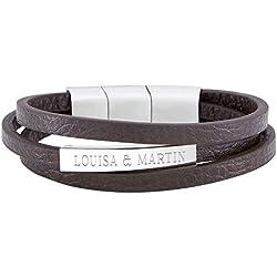 Gravado - Bracelet Extensible à Lanières pour Homme en Cuir Marron et Inox - Avec Gravure Personnalisée - 2 Prénoms