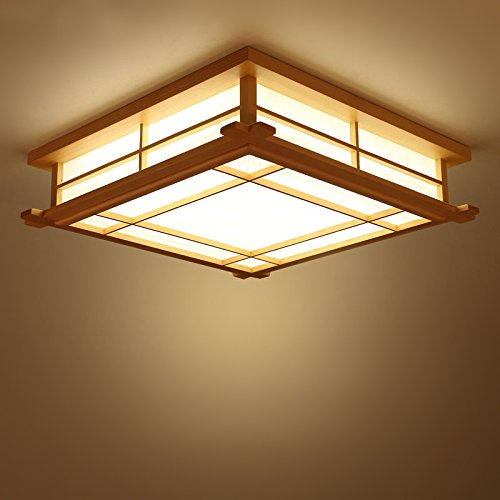 GQLB Luces De Estilo Japonés Con Tatami Estudio Luces Nórdicas 35 * 35 * 12 Cm Led Lámpara De Techo De Madera Maciza Dormitorio Iluminación Creativa Personalizada, Blanco
