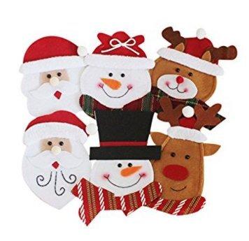 Miig-du 6pcs asciugamano porta posate coltelli forcella cucchiaio a forma di babbo natale costume carino per cucina decorazioni da tavolo christmas eve