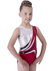 Édition de luxe: Justaucorps Gymnastique Sans Manches Rouge rubis Métallique et Blanc avec Vague incrustée détail Diamante
