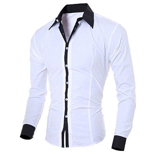 Herren T-shirt,Dasongff Mode Persönlichkeit Herren Hemd Casual Slim Fit Langarm-Shirt Top Bluse Oberteile Stehkragen Freizeithemd Langarmhemd Businesshemd (L, Weiß) (Hochzeit Casual Tragen Herren)
