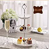 Cake Plate Stand Silver Gold Wedding Party Crown Rod Color Silver