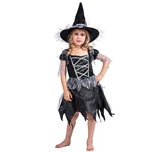 (EraSpooky Mädchen Fashion Hexenkostüm für Halloween mit Glitzer und Hexenhut)