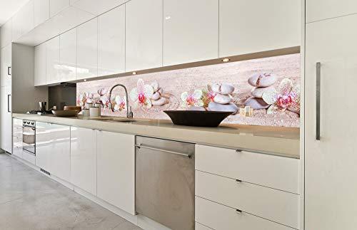 DIMEX LINE Küchenrückwand Folie selbstklebend Zen Garten 350 x 60 cm | Klebefolie - Dekofolie - Spritzschutz für Küche | Premium QUALITÄT