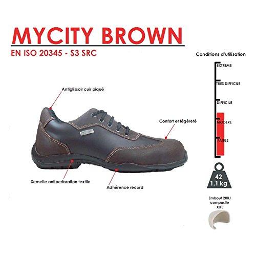 MYCITY BROWN Chaussures de Sécurité femme S3 Ville Noir