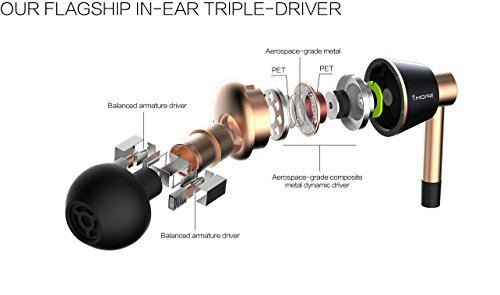 1MORE, Auricolari E1001 triple driver in-ear, Oro