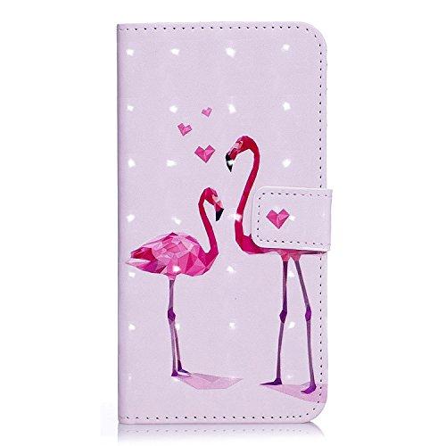 6 Plus Hülle, 6S Plus Hülle, iPhone 6 Plus Hülle, iPhone 6S Plus Hülle, iPhone 6 Plus / iPhone 6S Plus Hülle Muster, iPhone 6 Plus / 6S Plus Leder Wallet Tasche Brieftasche Schutzhülle, BONROY 3D Bunt Flamingo-Paar