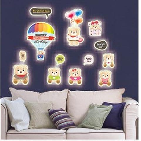 GYX Il mondo subacqueo animali di adesivi fluorescenti hot air balloon glow del fumetto dell'orso , 3