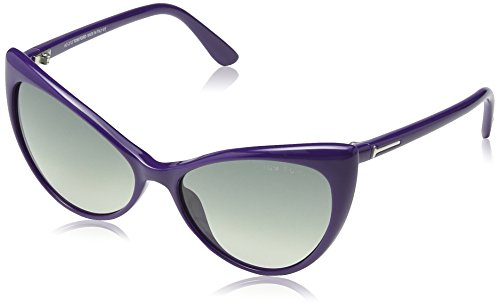 Tom Ford Damen FT0303 Schmetterling Sonnenbrille, Shiny Bluette Frame / Gradient Dark Grey