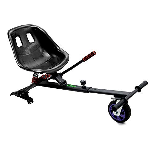 Hiboy-Asiento Kart Pro para Patinete Eléctrico, Silla de Hoverboard Todoterreno con suspensiones Self Balancing Compatible con Todos los Patinetes Eléctricos de 6.5, 8 y 10 Pulgadas, Negro