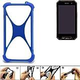 K-S-Trade Handyhülle für Cyrus CS 27 Silikon Schutz Hülle Cover Case Bumper Silikoncase TPU Softcase Schutzhülle Smartphone Stoßschutz, blau (1x)