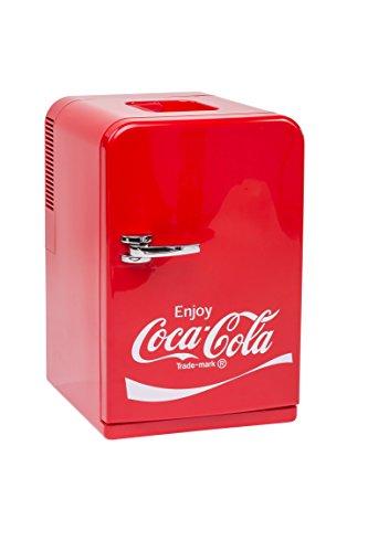 EZetil Coca-Cola Mini Kühlschrank F15, 12/230V - 15L mit Kühl- und Warmhaltefunktion für Getränke und Speisen, Energieeffizienzklasse A++, Rot