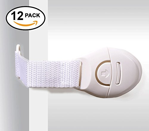 Chuckle - Child Safety Cupboard Locks / Plastic & Material Cabinet Strap Locks with Strong 3M Adhesive Sticker (12 Pack)