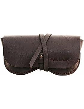 ESTUCHE PARA GAFAS en cuero marrón oscuro PAUL MARIUS, adecuado para todos los formatos Vintage & Retro PAUL MARIUS