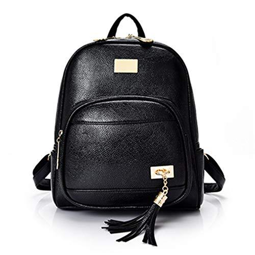 Frauen Rucksäcke Daypack Schultasche Schultertasche Black 25x12x30cm -