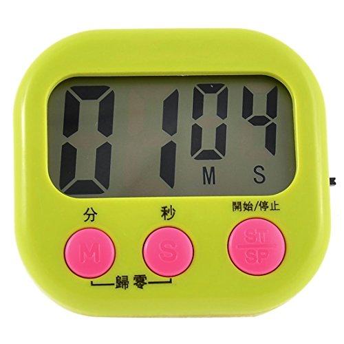 DealMux Rectangle LCD magnétique Bouton numérique Count Down Chronomètre Horloge Vert