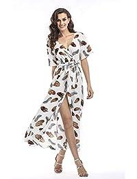 52f4943f0d0a6d Abiti Boho hawaiani Abito da Donna in Chiffon con Stampa Fantasia Manica  Corta Abito da Spiaggia Estivo con vestibilità…