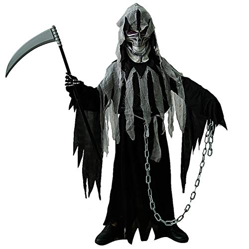 SEA HARE Dunkles Sensenmann-Halloween-Kostüm für Jungen (M :7-9 Jahre) (Kostüm Dunkle Haare)