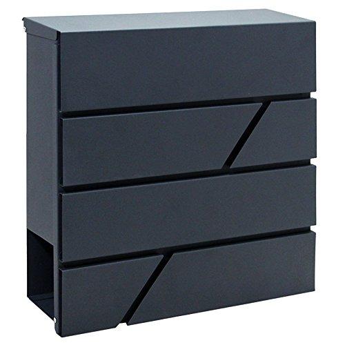 LZQ Design-Briefkasten Gebürstetes Edelstahl Postkasten mit Zeitungsfach, Anthrazit (RAL-7016) Postkasten, Wandbriefkasten Postkasten, Zeitungsrolle (G Type)
