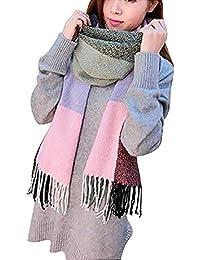 Mujeres caliente Mantas Cozy Pashmina bufanda larga tartán enrejado mantón