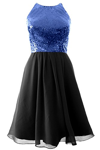 MACloth Vintage Halter Short Bridesmaid Dress Sequin Chiffon Party Formal Gown Royal Blue-Black