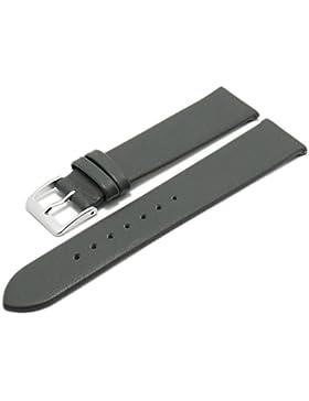 Meyhofer EASY-CLICK Uhrenarmband XS Weser 20mm mittelgrau Leder glatt ohne Naht Made in Germany My2gfml4001