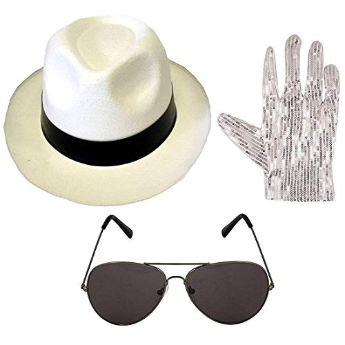 Islander Fashions Erwachsene Michael Jackson Style Gangsterhut Pop Brille Handschuhe Set Party Zubeh�r One Size