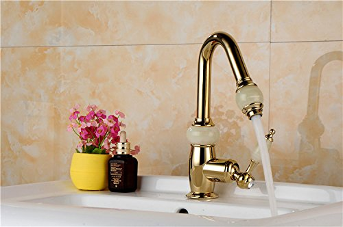 Srinivalei Waschtischarmatur Wasserhahn Armatur wasserfall für Badezimmer Waschtisch Armatur ziehen Badezimmer-eitelkeit voll Kupfer gold Einzelne Bohrung (Einzelne-badezimmer-eitelkeit)